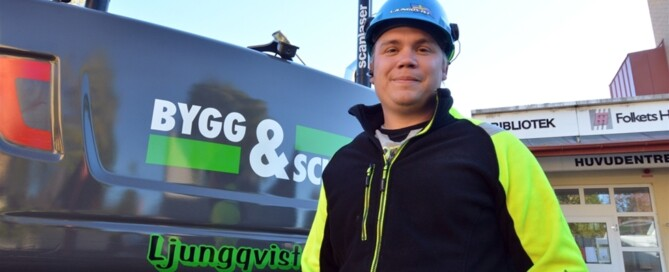 """""""Jag gillar att gå till jobbet varje dag – även måndagar. Det ligger ett skapande i att gräva, göra ett bra jobb och återställa så det blir snyggt och prydligt"""", säger Anton, som uppskattar helheten och att få göra kunden nöjd."""