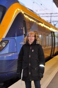 """Elisabeth Sinclair från den 18 år gamla Norrbottniabanegruppen är inte förvånad över regeringens beslut om att satsa på sträckan upp mot Skellefteå. """"Men det var ett enormt stort steg framåt."""""""